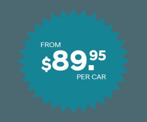 $89.99 per car detailing